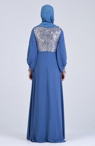 Sequined Chiffon Evening Dress 4717-03 Indigo 4717-03