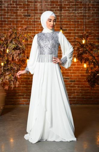White İslamitische Avondjurk 4717-05