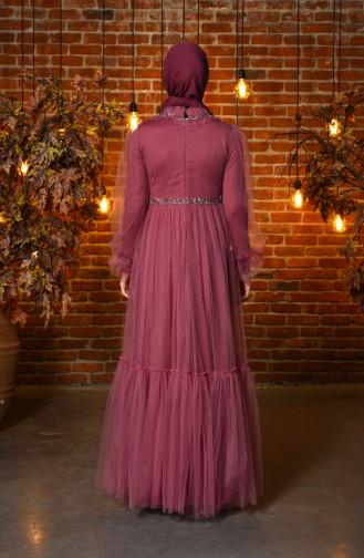 Lilac Islamic Clothing Evening Dress 4805-03