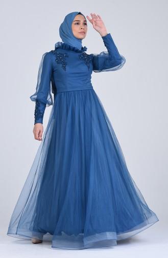 Indigo Hijab-Abendkleider 4807-05