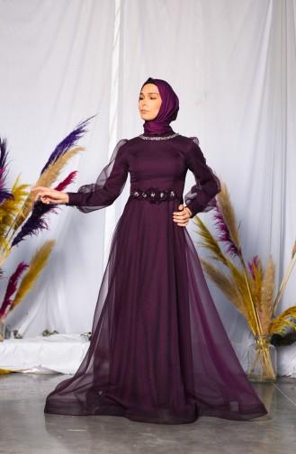 Purple İslamitische Avondjurk 4809-01