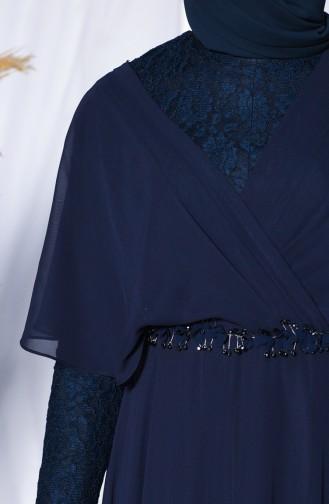 Spitzen Detailiertes Abendkleid 6059-01 Dunkelblau 6059-01
