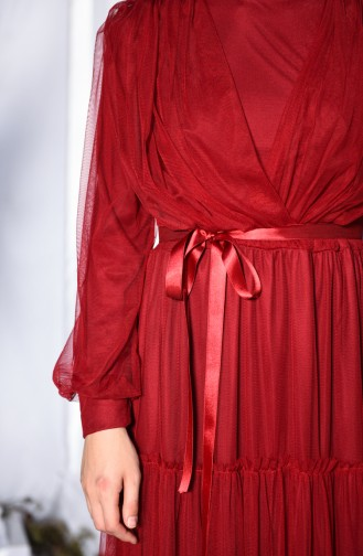 Claret red Islamic Clothing Evening Dress 3052-03