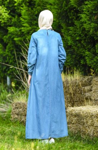 Jeansblau Hijap Kleider 8020-02