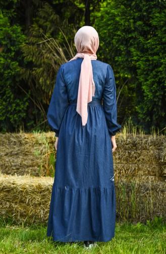 Dunkelblau Hijap Kleider 8032-02