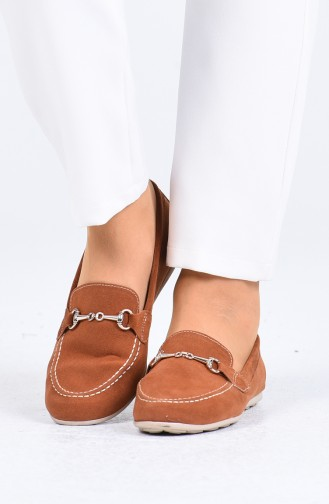 Tobacco Brown Woman Flat Shoe 0403-02