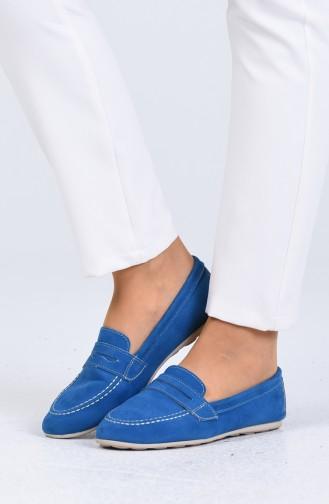 Blue Woman Flat Shoe 0404-03