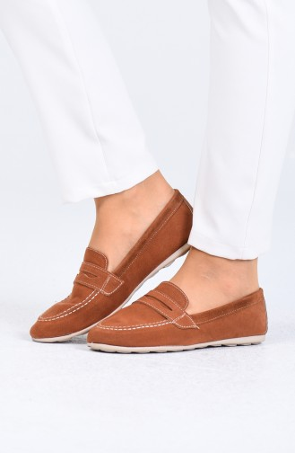 Tobacco Brown Woman Flat Shoe 0404-06