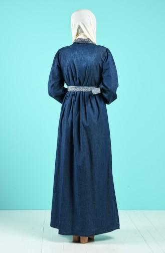 Boydan Düğmeli Kemerli Kot Elbise 8029-01 Lacivert