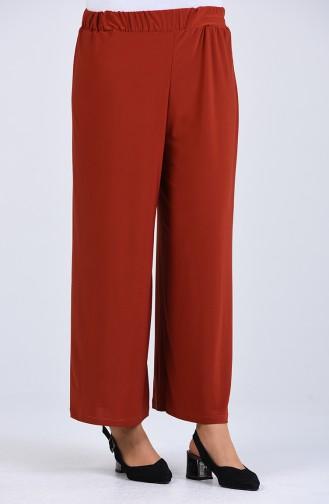 Pantalon Couleur brique 1021-08