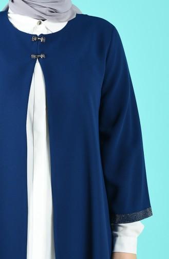 Büyük Beden Taşlı Tunik Ceket İkili Takım 22005-05 Lacivert Ekru