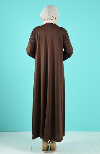 Büyük Beden Örme Elbise 4900-08 Vizon