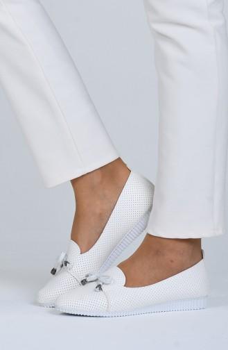 White Woman Flat Shoe 0022-02