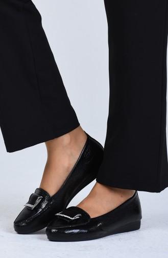 حذاء مسطح أسود 0424-01