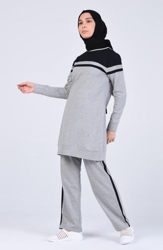 Şeritli Eşofman Takım 2800-04 Gri