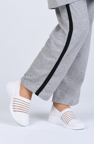 Bayan Ayakkabı 0357-01 Beyaz Triko