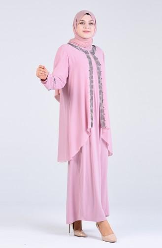 Plus Size Stone Evening Dress 1264-02 Powder 1264-02