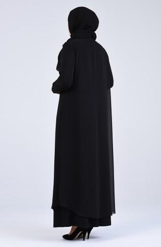 Büyük Beden Taş Baskılı Abiye Elbise 1267-04 Siyah