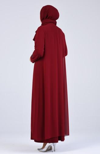 Büyük Beden Taş Baskılı Abiye Elbise 1269-05 Bordo