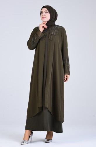 Khaki İslamitische Avondjurk 1287-04