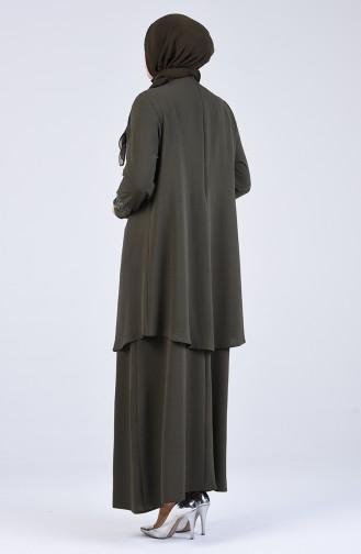 Khaki İslamitische Avondjurk 1302-02