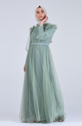 Khaki Hijab-Abendkleider 4815-02