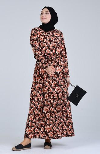 Ziegelrot Hijap Kleider 4556F-01