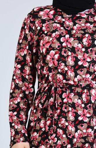 Büyük Beden Desenli Kuşaklı Elbise 4556F-05 Fuşya