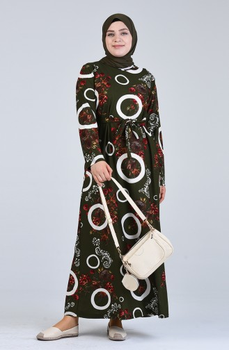 Büyük Beden Desenli Kuşaklı Elbise 4556G-01 Haki Yeşil