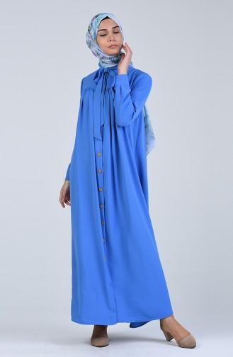 Düğmeli Elbise 5671-07 Mavi