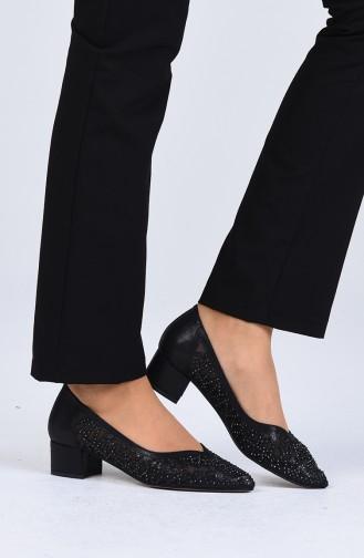 Bayan Topuklu Ayakkabı 0101-01 Siyah Sıvama