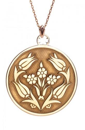 925 Ayar Gümüş Lale Motifli Bayan Kolye 0027-95 Rose