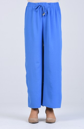 Aerobin Fabric Elastic waist wide Leg Pants 5459-15 Blue 5459-15
