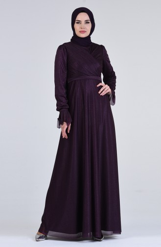 Silvery Evening Dress 1009-06 Plum 1009-06