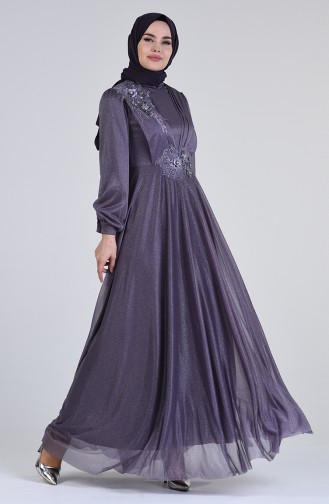 Hellviolett Hijab-Abendkleider 1123-01
