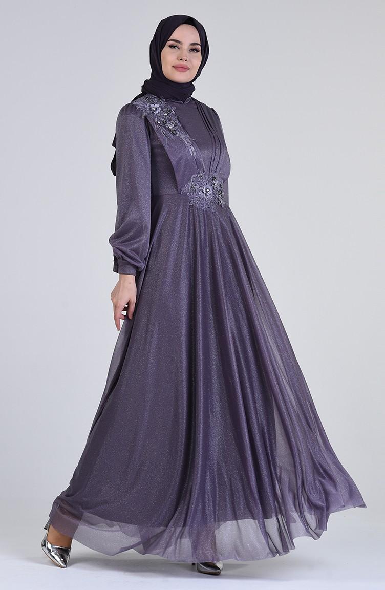 Hellviolett Hijab-Abendkleider 13-13