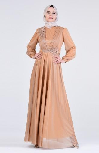 Karamel Hijab-Abendkleider 1123-04