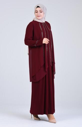 Büyük Beden Sim Şeritli Abiye Elbise 1263-02 Bordo