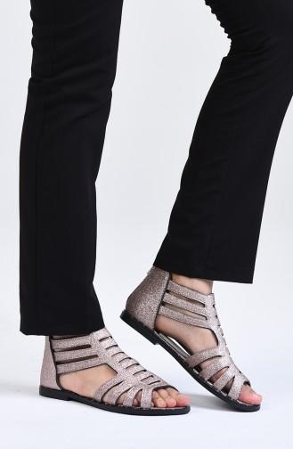 حذاء مسطح زهري البشرة 0010-06
