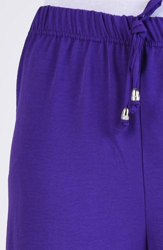 Aerobin Fabric Elastic waist wide Leg Pants 5459-07 Purple 5459-07