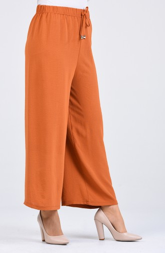 Aerobin Fabric Elastic waist wide Leg Pants 5459-10 Light Mustard 5459-10
