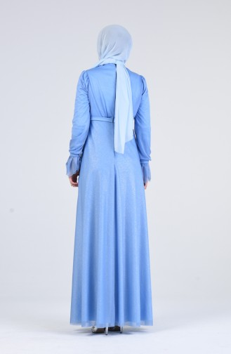 Silvery Evening Dress 1009-05 Blue 1009-05