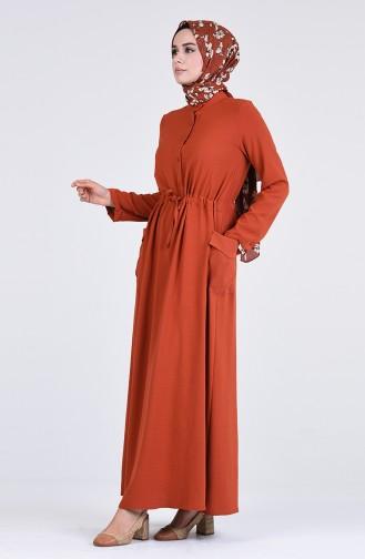 Robe Hijab Couleur brique 7684-01