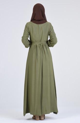 Desenli Kuşaklı Elbise 9Y3960300-02 Haki