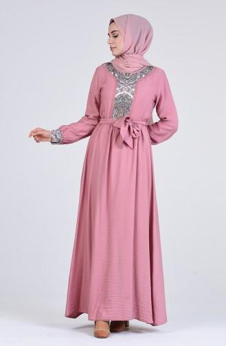 Desenli Kuşaklı Elbise 9Y3960300-05 Pudra