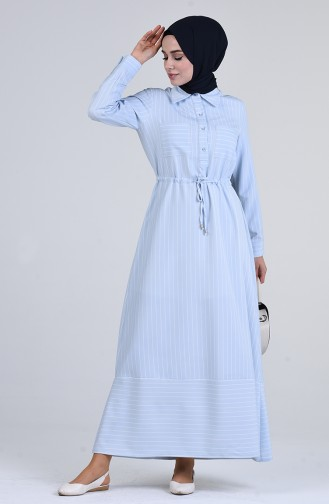 Babyblau Hijap Kleider 3096-01