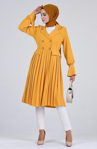 Pileli Ceket Görünümlü Tunik 1459-02 Hardal