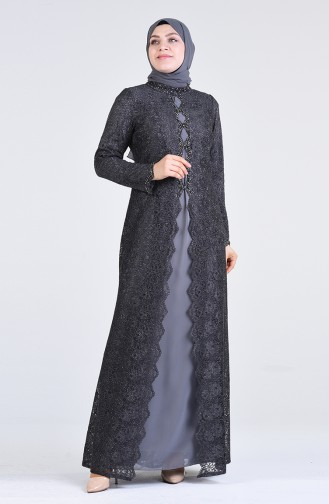Plus Size Lace Covering Evening Dress 1319-01 Anthracite 1319-01
