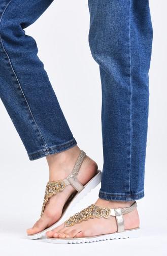 Gold Colour Summer Sandals 0010-03