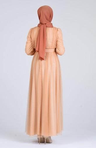 Lachsrosa Hijab-Abendkleider 7663-02